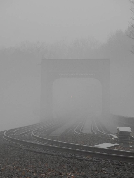 I could barely see the light of the train as it heads away over the trestle.