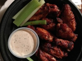 BBQ Wings with Parmesan Peppercorn dressing