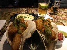 Fish tacos and a side of mashed potatoes