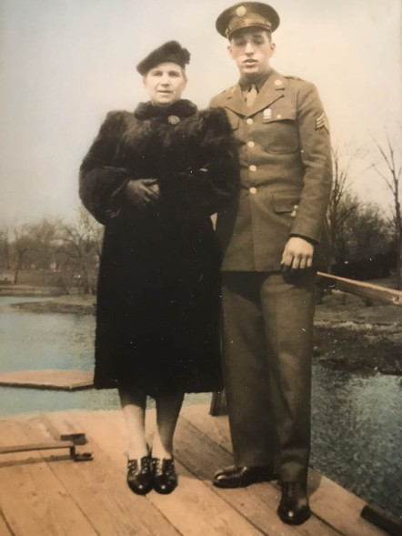 My grandmother and my dad before he shipped out for the Pacific.