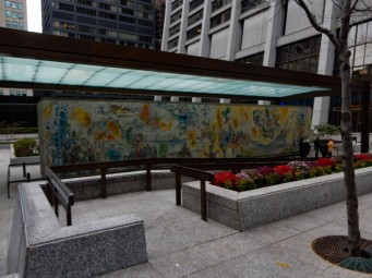 "The mosaic ""Les Quatre Saisons"" (The Four Seasons), designed by the artist Marc Chagall, 1974."