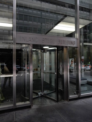 The Inland Steel Building was built in the years 1956–1957. It was the first skyscraper to be built in the Chicago Loop following the Great Depression. The building is clad in brushed stainless steel.
