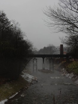 Scantic River - north central Connecticut - That's Powder Hollow Brewery on the right.