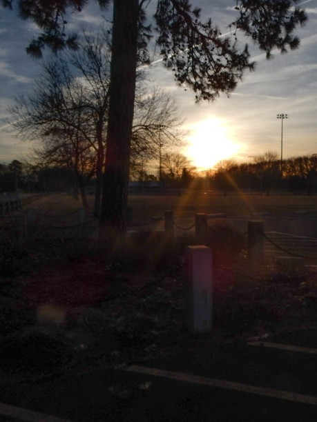 Beautiful sunrise over Maddie's park.