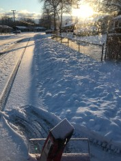 """6""""(15cm) of snow after the plows push it off the road onto our sidewalks."""