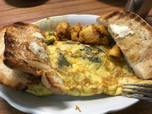Allegro western omelette, potatoes and Italian toast.