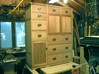 This is a Mule Chest before finishing. The Mission style drawer pulls had to be per-installed and the removed for finishing.