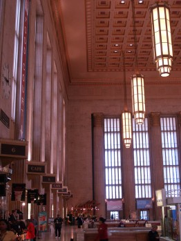 30th Street Station lamps. I like these because the bowling alley my father managed had shorter versions of these. Similar, but with only one tall pane top row.