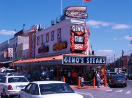 Of course we walked across the street and had one from Geno's. Two sandwiches, but no fries.