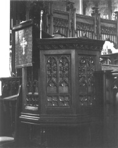 Pulpit - Note the similar tracings in the arched panels as found in doors and windows. - From NRHP Nomination