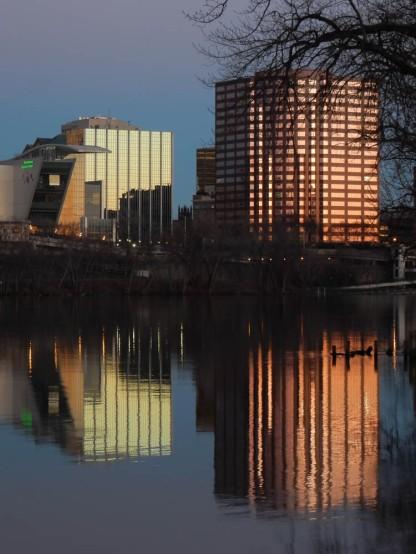 CT Science Center on left. Hartford Steam Boiler Insurance on the right.
