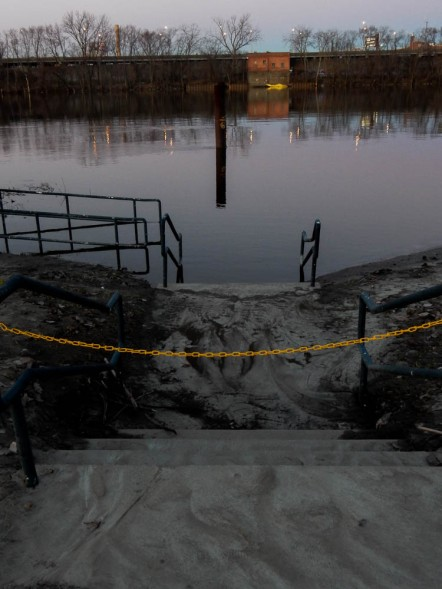 The floating dock will be anchored to those pylons.
