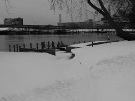 Great River Park is buried under about a foot of snow.