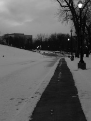 They cleaned the snow from Great River Park in time for one last visit before DST.