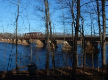 Railroad bridge over the CT River on a clear winter morning.