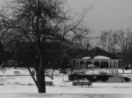 The gazebo on the town green.