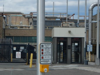 Employee entrance gate at Pratt and Whitney's main plant.