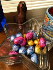 Easter candy (and an Irish Setter statue).