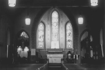 NRHP - Inside, looking east (toward back of church).