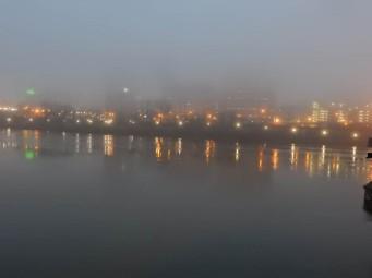 Hartford behind a curtain of fog.