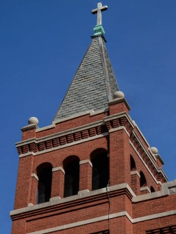 Brickwork on the bell tower of St. Gabriel's.