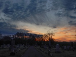 Sunrise over Elm Grove Cemetery.