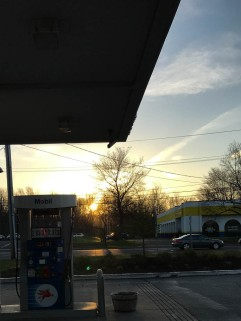 It's nice seeing the sun on my way to work, even at the gas pump.
