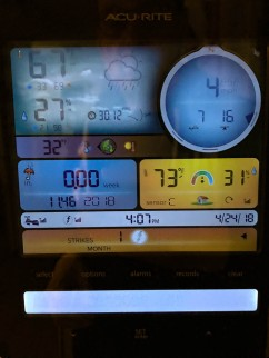 I had to include this. This is our weather station. It's 4:07 pm, it's 67°f (19°c)