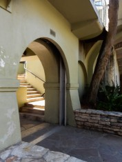 """Inside that arch is a """"pocket-door"""" style flood gate."""