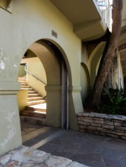 "Inside that arch is a ""pocket-door"" style flood gate."