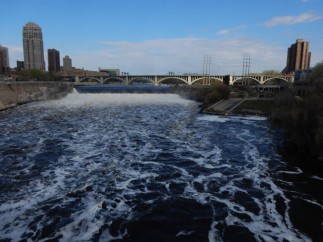 St. Anthony's Falls from the center of the Stone Arch Bridge.