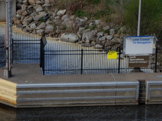 The lock is closed to navigation because the river is above flood stage farther south. No need to bunch up ships on the river.