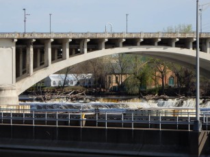 That's the I-35 highway bridge and a lot of debris in the river.