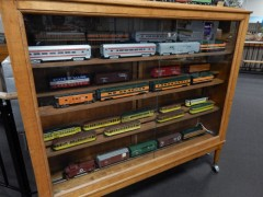 Many more trains are on display than are active in the layouts.