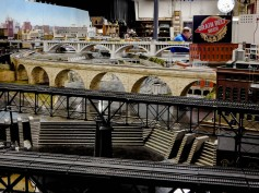 Close-up of the stone arch bridge and the highway bridge in the main layout.