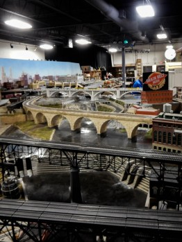 The stone arch bridge, the highway bridge, St. Anthony's Falls and the Mississippi River - all meticulously recreated.