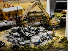 They even staged a site of a train derailment.
