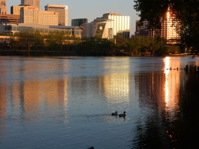 I spied these two ducks in the river. I had time to stick around to see where they were headed.