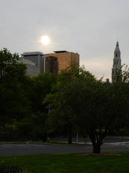 The sun is fighting its way through the heavy overcast over Hartford.