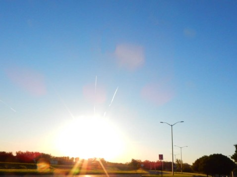 Sunrise contrails