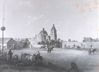"""1880 picture - The military plaza at San Antonio, Texas. In: """"United States and Mexican Boundary Survey. Report of William H. Emory ...."""""""