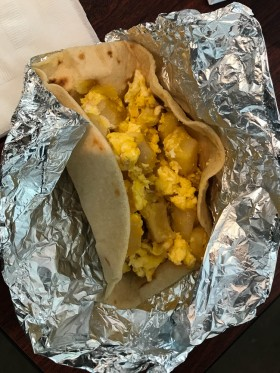 I stopped in the cafe for an egg and potato taco.
