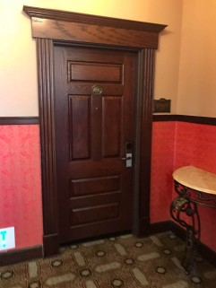 The door to our suite at the historic hotel room in the Milwaukee Road Terminal