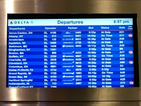 Always good to see that your flight is at the gate and on time.