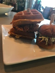 Pulled pork on the right - chicken waffle slider on the left.