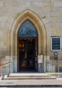 The entrance to St. Joseph's Church in San Antonio is inviting.