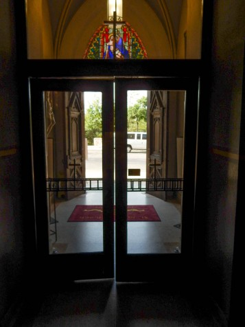 Looking out at the magnificent entrance doors of St. Joseph's Church in San Antonio.