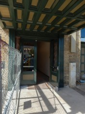 This is the construction entrance to the building being renovated.