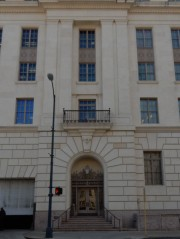 This is a side entrance to the Post Office and Courthouse.