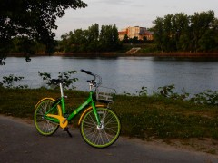 These bikes just arrived in Hartford. I'm happy to see that someone has taken one for a ride across the river.